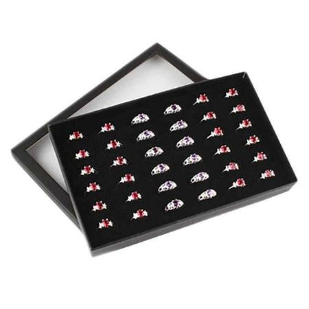 Transparent Window PVC 36 Slots Ring Box Tray Storage Show Case Earrings Jewelry Display Holder Organizer