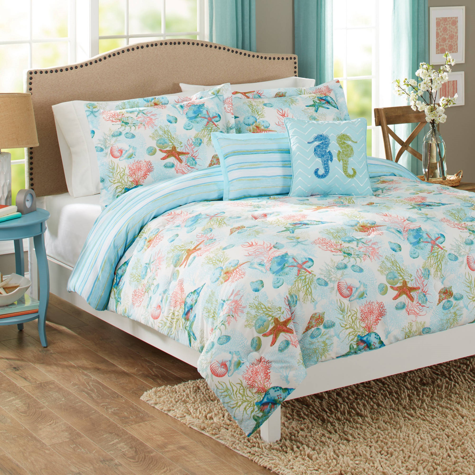 Click here to buy Better Homes and Gardens Beach Day 5-Piece Comforter Set, Peach by Peking Handicraft.