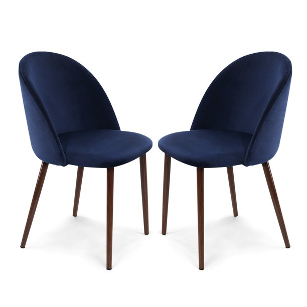 Poly and Bark Sedona Velvet Dining Chair in Space Blue (Set of 2)