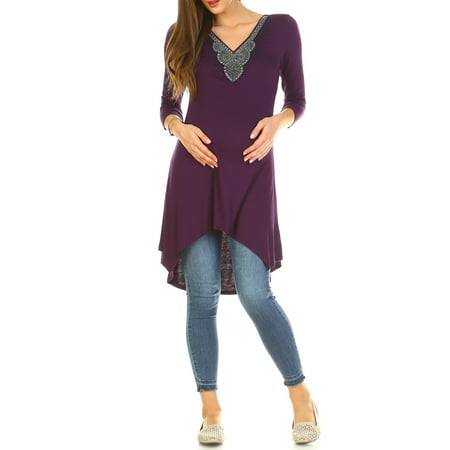 Beaded Halter Tunic (Women's Maternity Beaded Tunic Top - Extended Sizes Available)