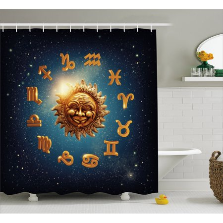 Astrology Shower Curtain Ancient Signs Surrounds A Moon Sun In Space With Stardust Nebula Fabric Bathroom