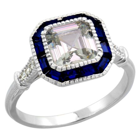 Sterling Silver Art Deco Ring Asscher-Cut CZ 7mm Synthetic Baguette Blue Sapphires 7/16 inch size 7
