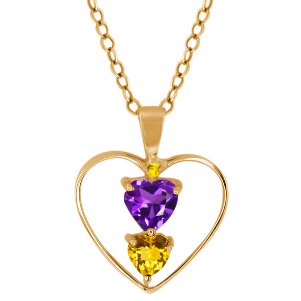 0.69 Ct Heart Shape Purple Amethyst Yellow Citrine 14K Yellow Gold Pendant