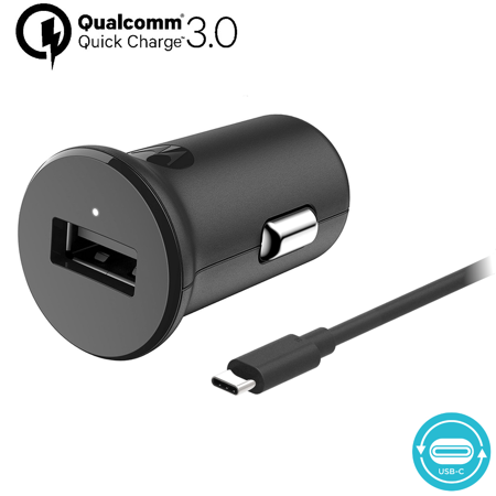 Motorola TurboPower 18 QC3.0 Car Charger w/ 3.3ft SKN6473A USB-C Cable Turbo Charge the Moto Z, Z2, Z3, X4, G7, G7 Play, G7 Plus, G7 Power, G6, G6 Plus [NOT for G6 Play] (Retail Box)