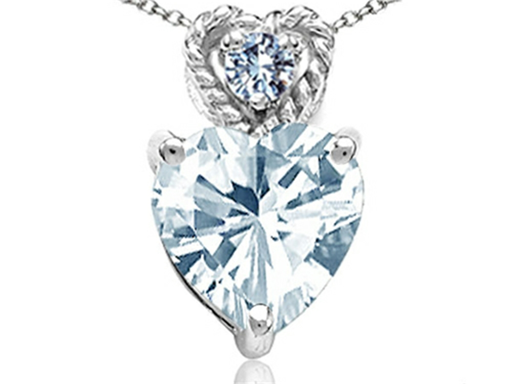 Tommaso Design 6mm Heart Shape Genuine Aquamarine Pendant Necklace in 14 kt White Gold by