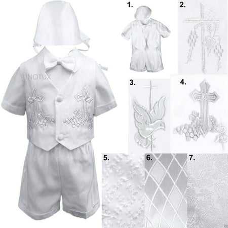 New Infant Toddler Boys Christening Baptism Vest Set Outfits White from Baby- 4T ()
