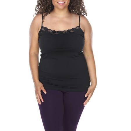 70603af6c8eec White Mark - Women s Plus Size Lace Trim Tank Top - Walmart.com