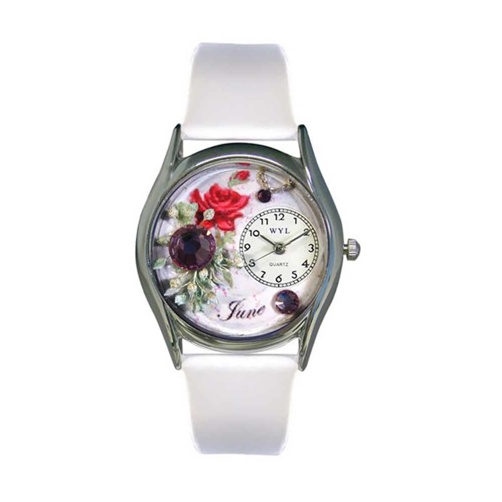 Whimsical Birthstone: June White Leather And Silvertone Watch