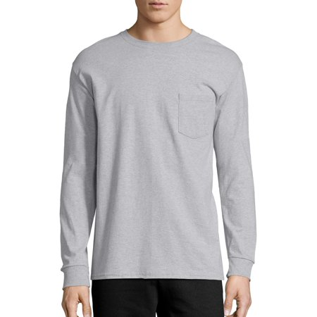Hanes Men's Tagless Cotton Long Sleeve Pocket (Black Organic Cotton Tee)