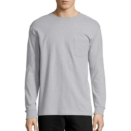 Hanes Men's Tagless Cotton Long Sleeve Pocket Tshirt 100 Cotton Essential T-shirt
