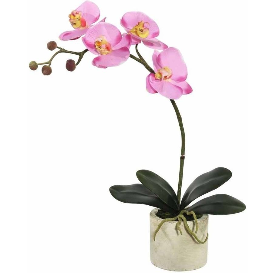 "Vickerman 20"" Artificial Lavender Orchid Featuring 4 Blossoms Potted in a White Ceramic Container"