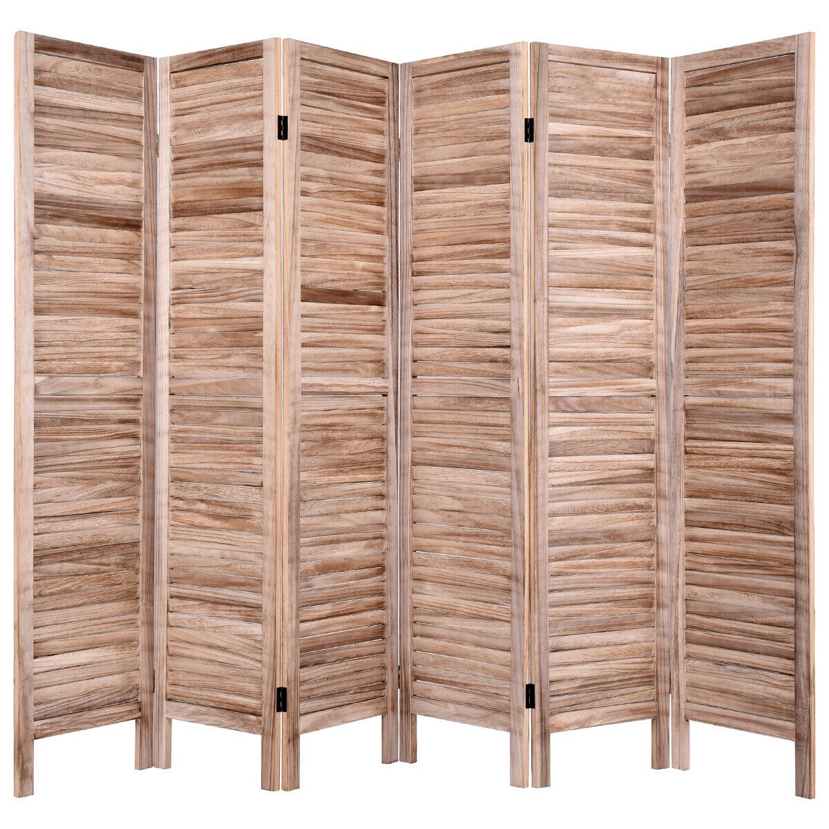 Super 67 H 6 Panel Room Divider Classic Venetian Wooden Slat Home Furniture Brown Download Free Architecture Designs Embacsunscenecom