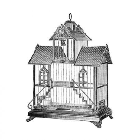 Etchings Birdcage - Victorian house with steps Poster Print by Catalog Illustration (Victorian Illustration)