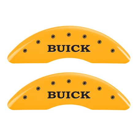 Set of 4 caliper covers, Engraved Front: Buick - Engraved Rear: Buick Shield, Yellow powder coat finish, black characters.
