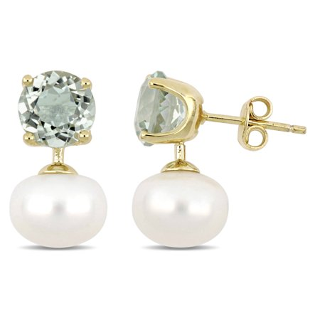 10-10.5mm White Cultured Freshwater Pearl and 3-1/2 Carat T.G.W. Green Amethyst Yellow-Plated Sterling Silver Drop