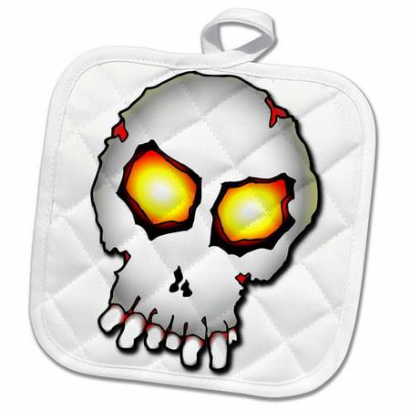 3dRose ZOMBIE SKULL halloween 1 on white - Pot Holder, 8 by