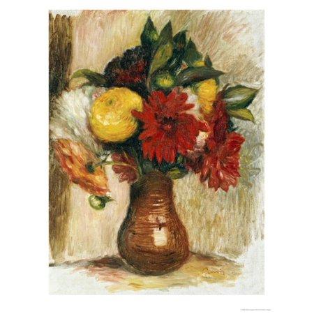 Bouquet de Fleurs au Pichet de Terre Print Wall Art By Pierre-Auguste - Bouquet De Fleurs