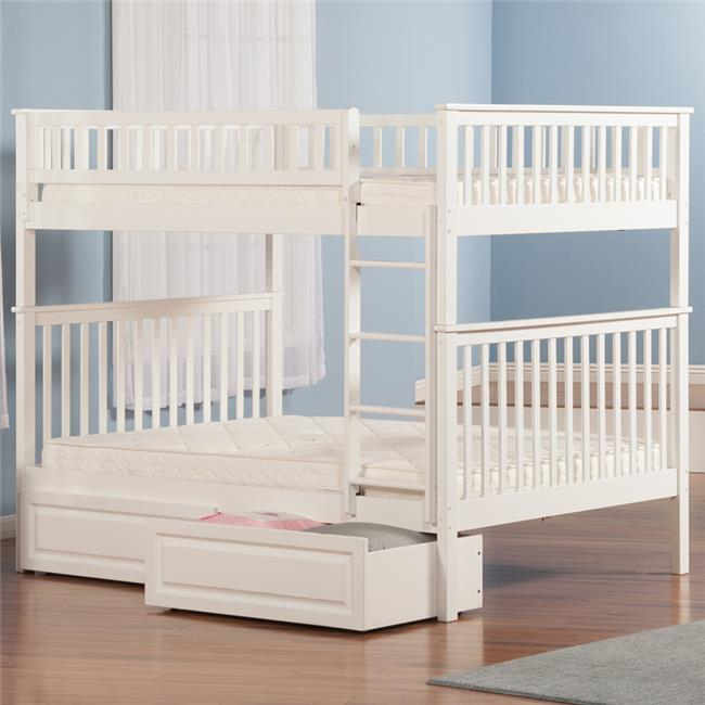 Woodland Bunkbed with Raised Panel Under Bed Storage Drawers - White, Full Over Full Size