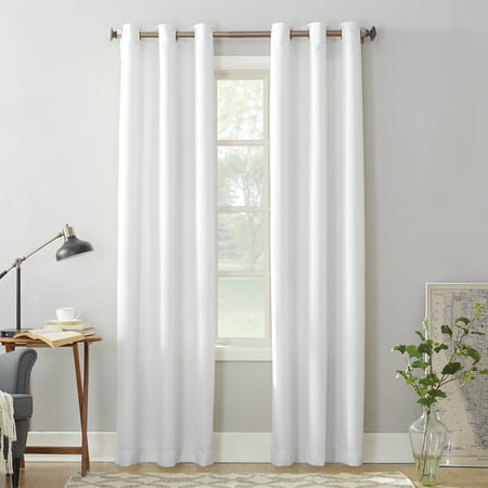 "95""x48"" Montego Casual Textured Grommet Curtain Panel White - No. 918"