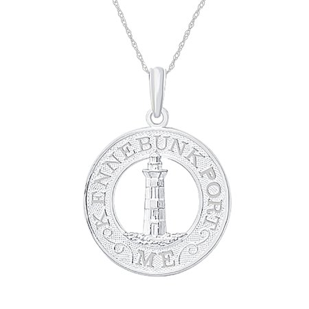 Million Charms 925 Sterling Silver Travel Charm Pendant With Chain   Kennebunkport  Lighthouse Center