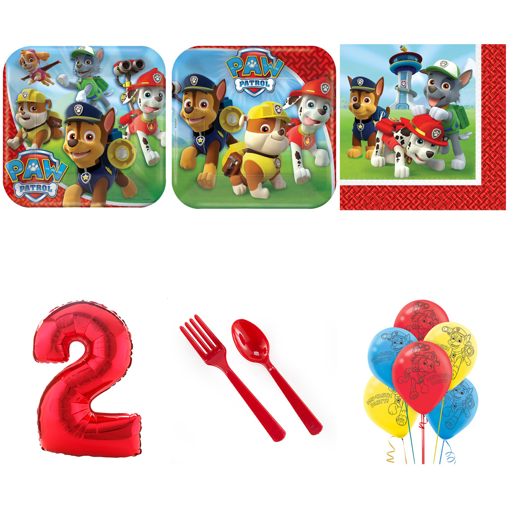 PAW PATROL PARTY SUPPLIES PARTY PACK FOR 32 WITH RED #2 BALLOON