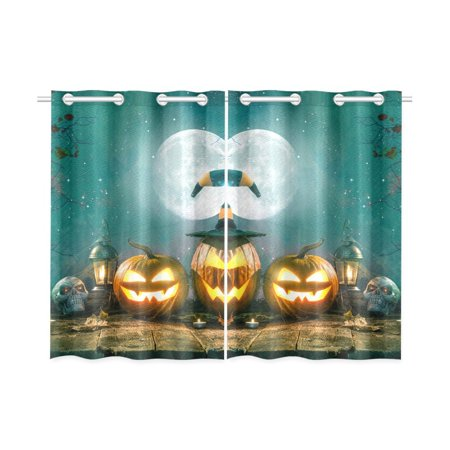 MYPOP Halloween Pumpkin Head Jack Lantern Window Curtain Kitchen Curtain 26x39 inches (Two Piece)](Halloween Drake)