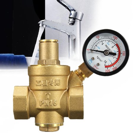 "DN20 3/4"" Adjustable Brass Water Pressure Reducing Regulator Valves With Gauge"