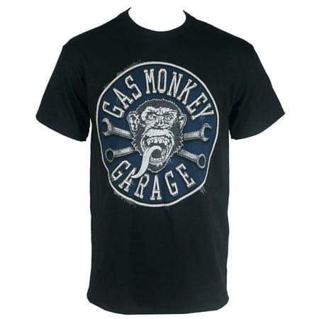 GAS MONKEY GARAGE Faux Stitched Patch Black T-Shirt](Monkey Boy Graphics)