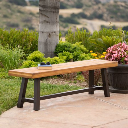 Colonial Outdoor Acacia Wood and Rustic Metal Bench, Sandblast Finish Rustic Wood Benches