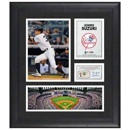 MLB - Ichiro Suzuki Framed 15x17 Multi-Photo Collage | Details: New York Yankees, with Game Used Baseball