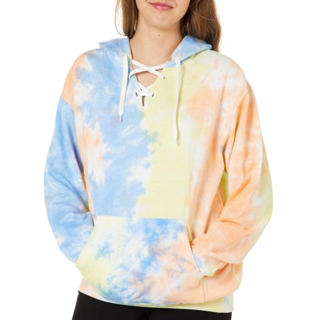 Exist Juniors Tie Dye Lace- Up Hooded Sweatshirt (Pink Dolphin Tie Dye Hoodie For Sale)