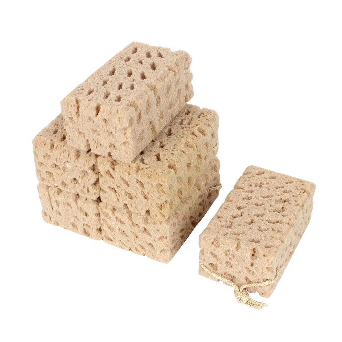 6Pcs Durable Practical Perforated Nonslip Car Wash Sponge Brown