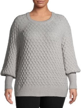 Terra & Sky Women's Plus Size Honeycomb Stitch Sweater with Balloon Sleeves