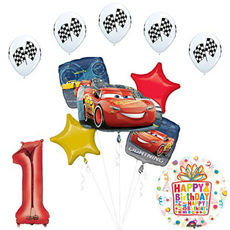 Cars 3 Lighting McQueen 1st Birthday Party Supplies and Balloon Decorations - Cars Birthday Decorations