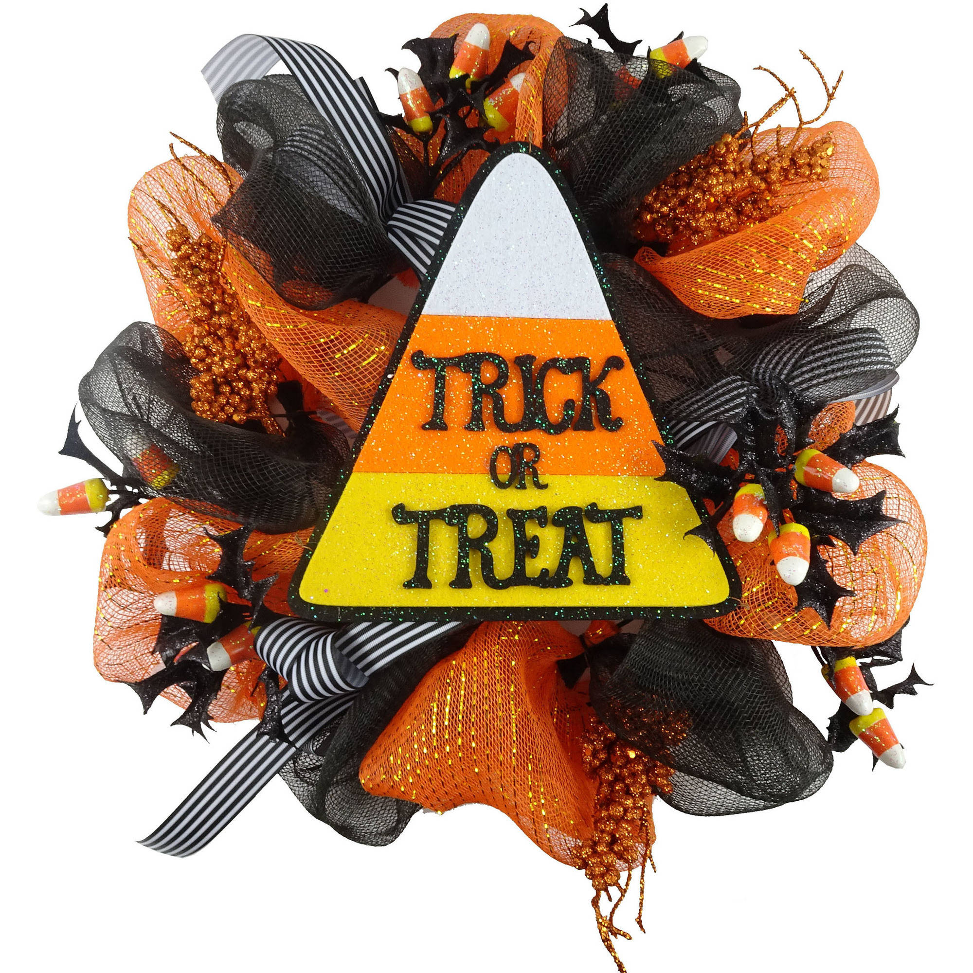 Halloweeen Mesh Wreath With Candy Fall Harvest Halloween Decoration
