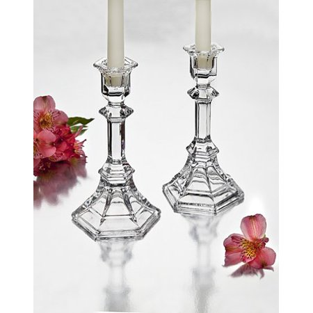 Crystal Octagon Flare Candle Stick Pair