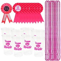 """Joyin 33 Piece """"Team Bride"""" Bachelorette Party Accessory Pack - Includes 8 Pink Bead Necklaces, 8 Team Bride Plastic Cups, 8 Team Bride Badges, and 1 Bride-To-Be Badge"""