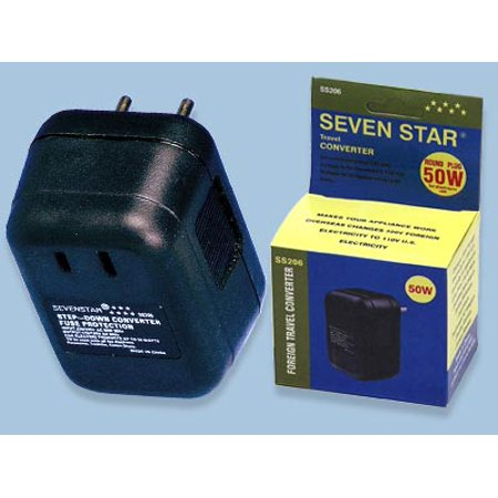 Seven Star 50 W Watt 220v to 110v Voltage Converter 50w for Small US 110 Volt Appliances To Use Abroad with 220 Volt
