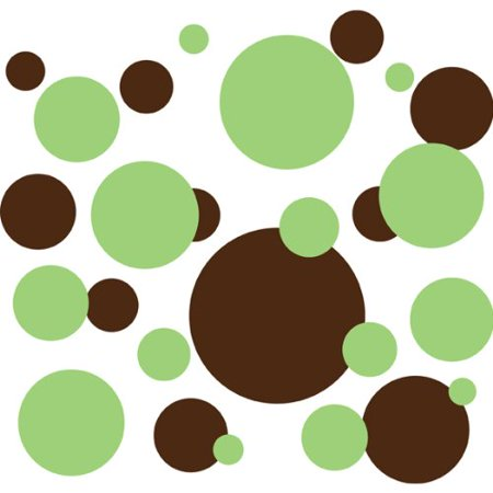 136 Polka Dot Peel & Stick Wall Decals, Key Lime Green & Brown, Contains: 136 Decals in 2 Colors By Drama -