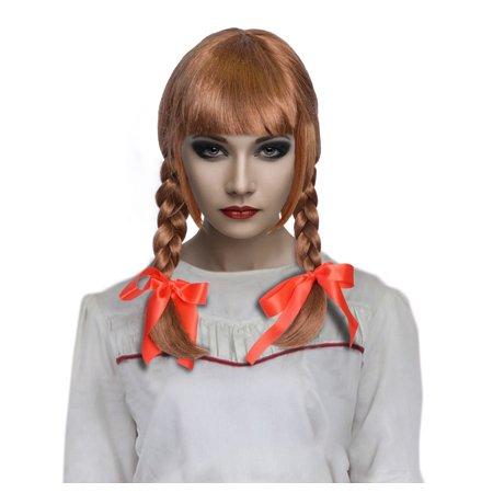 Cece Long Hair Double Braid Wigs with Straight Bangs for Cosplay Costume Party Annabelle,Brown