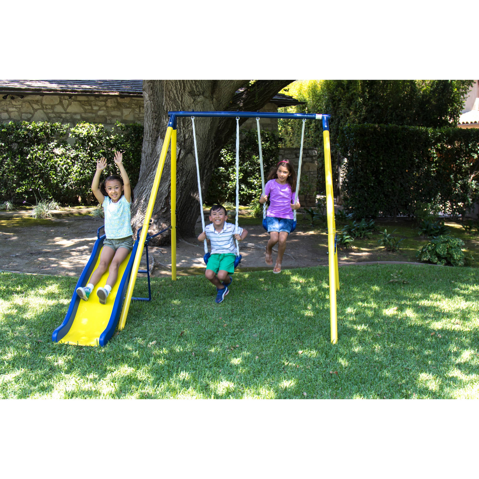 Outdoor Play Swing Set Backyard Playground Metal Swingset Kids Slide  Playset Fun