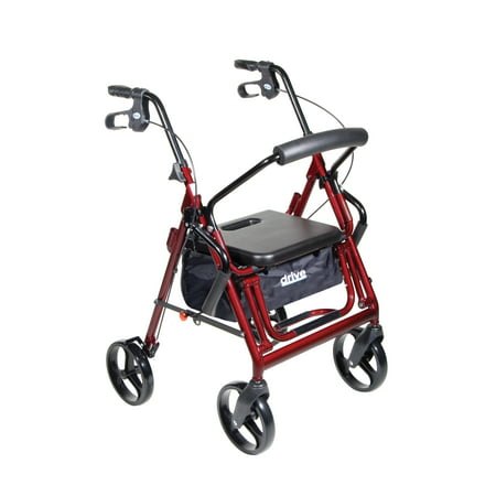 Drive Medical Duet Dual Function Transport Wheelchair Walker Rollator  Burgundy