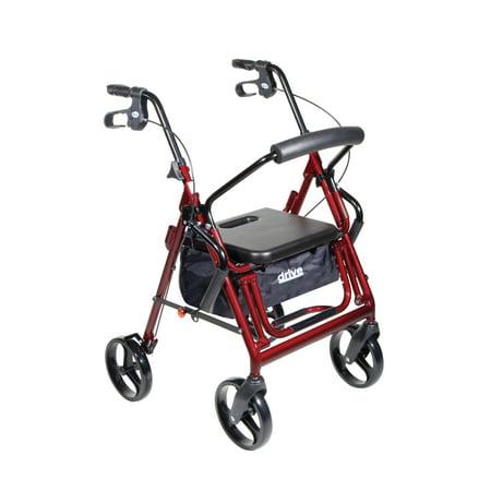 Drive Medical Duet Dual Function Transport Wheelchair Walker Rollator, Burgundy