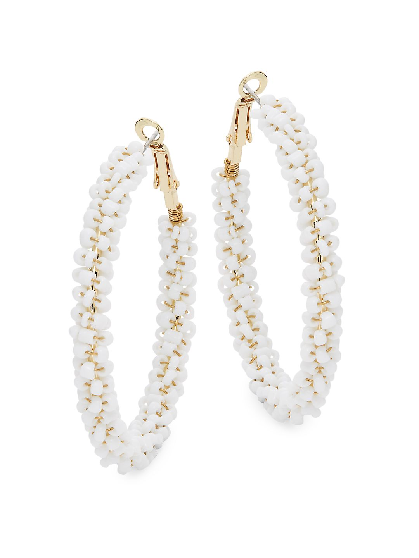 Goldtone Beaded Hoop Earrings