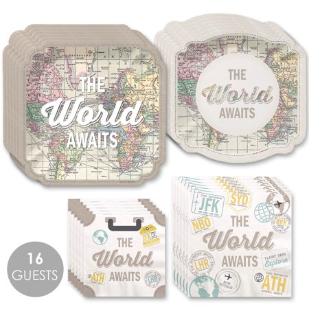 World Awaits - Travel Themed Party Tableware Plates and Napkins - Bundle for 16