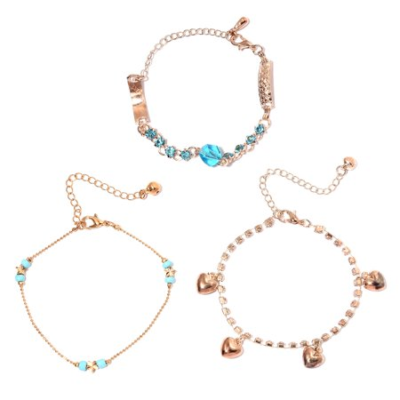20 Cubic Zirconia Crystals - Set of 3 Cubic Zircon Blue Topaz CZ Crystal Rosetone Anklets Ankle Bracelet for Women 8-12