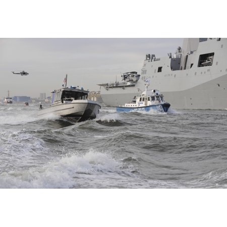 Crews From The Coast Guard And Police Departments Escort Uss New York As It Sails Into New York Harbor Print