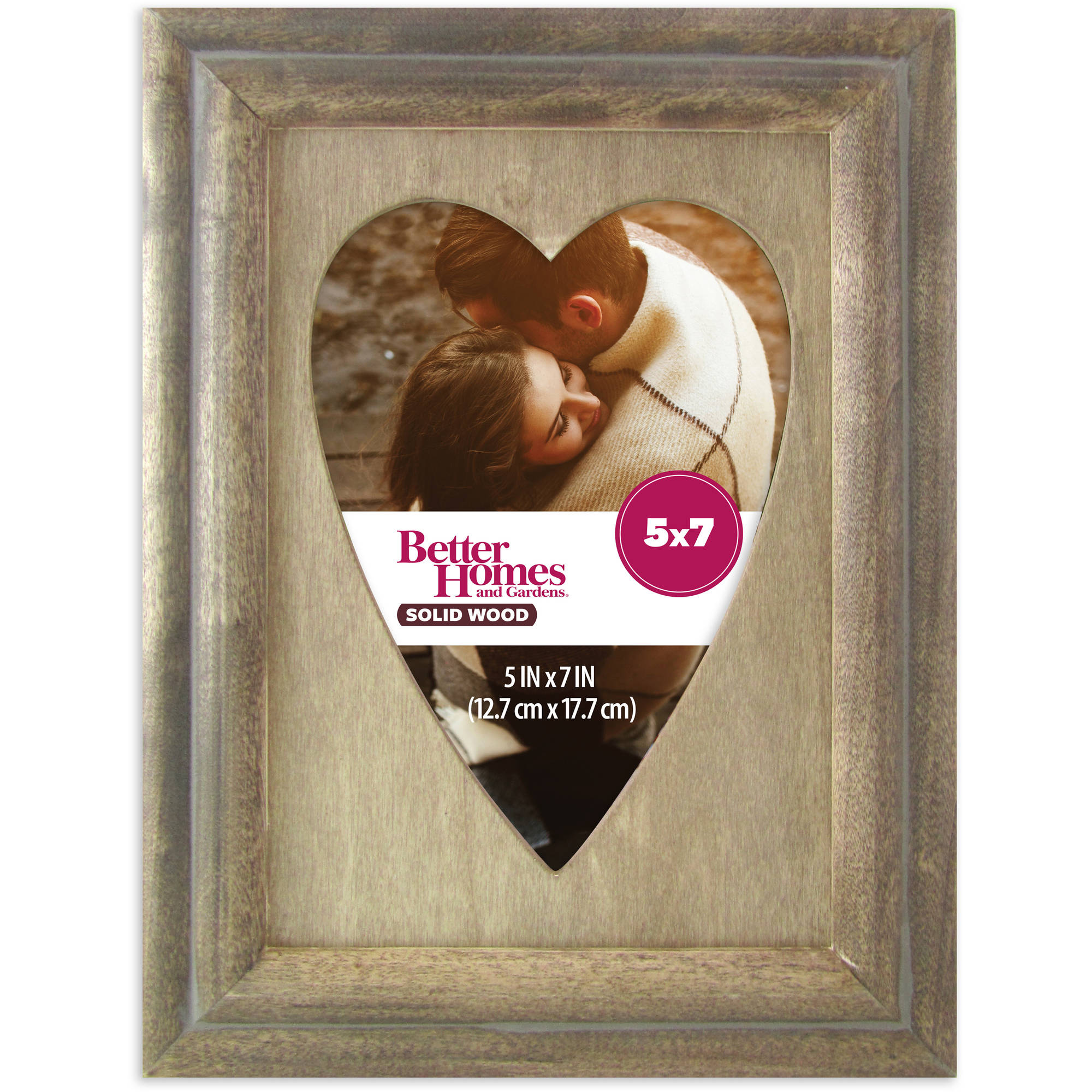 Better Homes and Gardens 5x7 Shepherd Heart Picture Frame, Rustic Brown