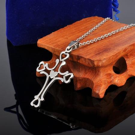 Stainless Steel Graceful Hollow Heart Cross Pendant Unisex Jewelry (Unisex Heart)