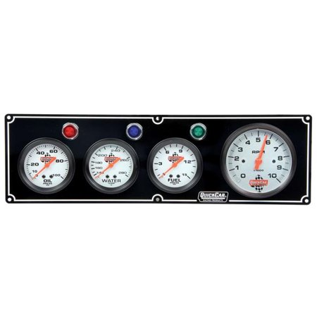 Quickcar Racing Products QRP61-67423 3-1 Gauge Panel with 3.37 in. Tach - OP-WT-FP, Black - image 1 de 1